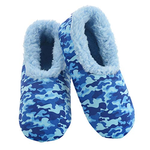Snoozies Slippers for Women - Womens Slippers - Soft Plush Camo Slippers - Blue - Medium