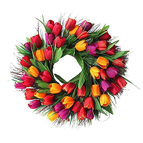Cratone Türkranz Wandkranz Deko Kranz Tulpe handgefertigte Kunstblumendeko für Zuhause Parties Weihnachten Türen Hochzeiten Dekor (Rot)
