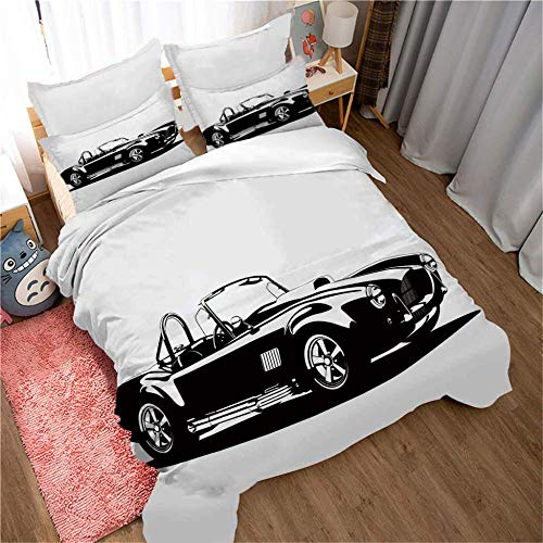 3D Duvet Cover Black and white convertible classic car Double bed Bedding Set Single Bed for Children Teens Pattern with 2 Pillowcases Quilt Cover with Zipper Closure 100% Microfiber 140x200cm