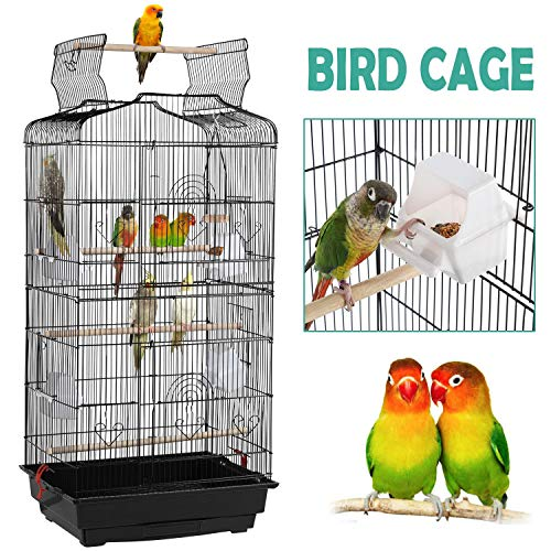 YAHEETECH 36-inch Open Top Hanging Medium Parakeet Bird Cages for Parakeets Finches Canaries Lovebirds Small Quaker Parrots Cockatiels Budgie Green Cheek Conure Travel Pet Flight Bird Cage Birdcage