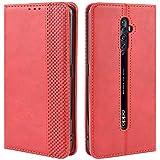 HualuBro Handyhülle für Oppo Reno 2Z / 2F Hülle, Retro Leder Brieftasche Tasche Schutzhülle Handytasche LederHülle Flip Hülle Cover für Oppo Reno2 F / Reno2 Z - Rot