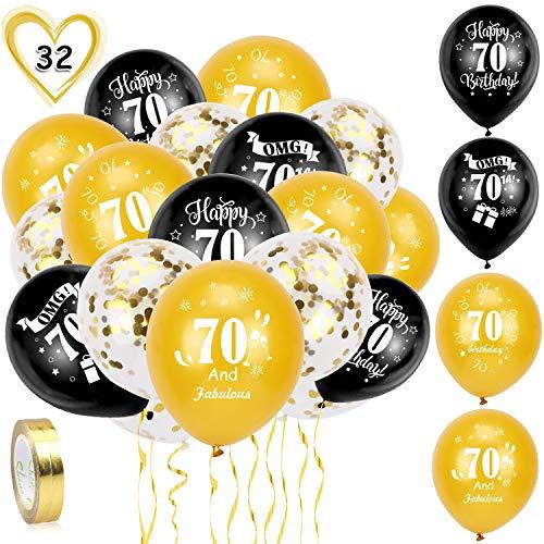 HOWAF 70. Geburtstag Luftballons, 30 Stück Schwarz Gold 70. Geburtstags Deko Ballons Latex Konfetti Luftballons & 2 Bänder für Männer Frauen 70. Geburtstag Party Dekorationen - 12 Zoll (Alter 70)