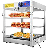 3-Tier Food Pastry Pizza Warmer Countertop Commercial Display Case See Through 750W Adjustable Removable Shelves Glass Door 20x20x24' (3-Tier)