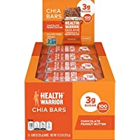 15-Count Health Warrior Chia Bars, Chocolate Peanut Butter, Gluten Free, Vegan, 25g bars
