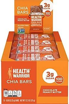 15-Count Health Warrior Chia Bars, Chocolate Peanut Butter, 25g bars