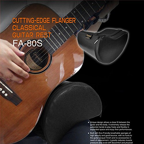 Guitar Cushion PU Leather Cover Built-in Sponge Contoured Guitar Bass Cushion Padded Support for Classical Acoustic Electric Guitar Players Guitarist Musical Instruments Accessories Tool (Black)