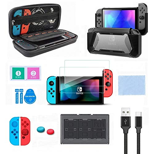 Switch Accessories Kit, VOKOO Nintendo Switch Case, Protective Case Cover, Tempered Screen Protector, Gaming Card Case and USB-C Charging Cable Compatible with Nintendo Switch, 10-in-1