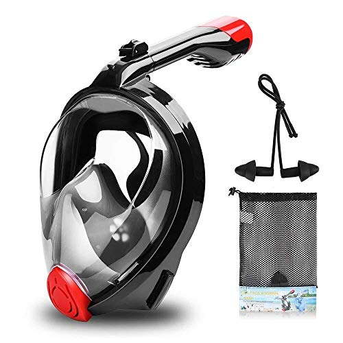 ZHUYUE Comfortabel duikmasker full face masker snorkel zwemmen duikbril met afneembare camerahouders Professioneel duikmasker (kleur: zwart, maat: één maat)