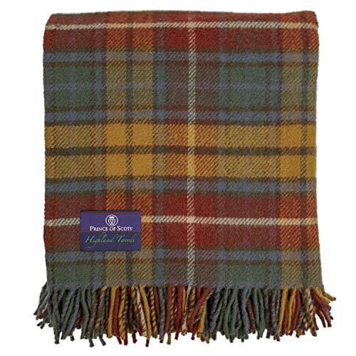 Prince of Scots Tagesdecke, Schottenkaro, Tweed, 100 prozent reine Schurwolle, flauschig Antike Buchanan
