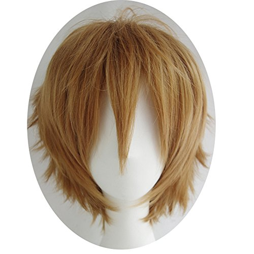 Alacos Women Men Cosplay Short Straight Hair Wig Anime Party Cool Costume Dress Wigs Light Brown Wig+ Free Wig Cap