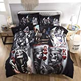 PATATINO MIO Skull Bedding Set King Size Forever Love Pink Floral Skull Lovers Kissing Printed White Colored Duvet Cover Set for Adults Boys Girls 3 Pieces with 2 Pillow Sham