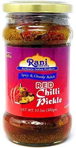 Rani Red Chilli Pickle Hot Achar Spicy Indian Relish 105oz 300g ~ Glass Jar All Natural | Vegan | Gluten Free | NONGMO | No Colors | Popular Indian Condiment Indian Origin