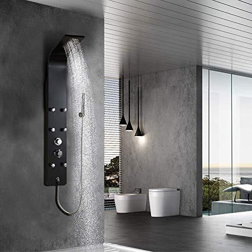 Elbe®Columna ducha con grifo, 6 jets de hidromasaje, panel de ducha con 3 funciones, 140 x 18 x 6,5 cm
