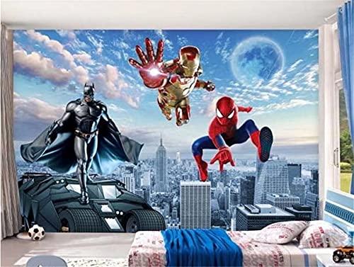 Dessin animé personnalisé Avengers Anime papier peint mural 3D chambre d'enfants maternelle garçon chambre chambre décoration affiche 3D Spiderman papier peint