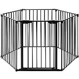 dreamade cancelleto di sicurezza, recinzione multifunzionale per bambini e animali, pieghevole, barriera di sicurezza, scale camino in metallo (nero)