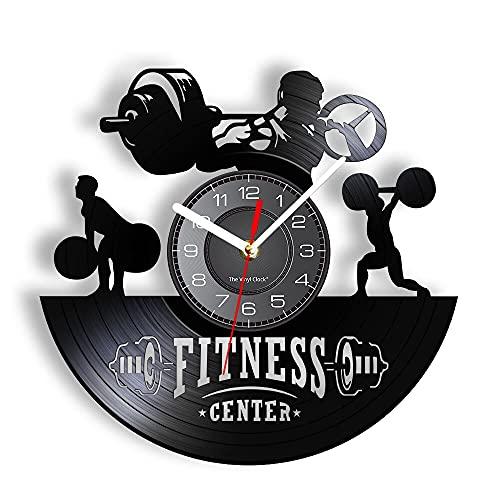 LED 7 Colores Relojes de Pared Levantamiento de Pesas Músculo Hombres Retro Fitness Center Bodybuilder Mantenerse en Forma Entrenamiento Vinilo LP Reloj Disco de Vinilo Artesanías con luz