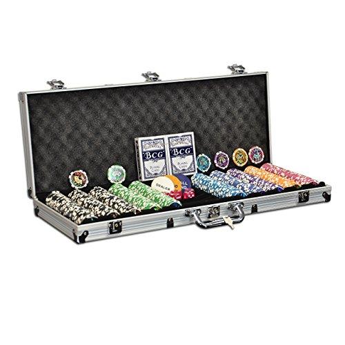 Pokerkoffer mit 500 abgerundeten Ocean Champion Chips hochwertige Metallkern Jetons 12 g Pokerset mit viel Zubehör Black Jack Texas Holdem