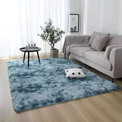Logo Teppich 100x140cm Kunstfell Hochflor Langflor Teppiche Schadstoffgeprüft für Wohnzimmer, Schlafzimmmer, Esszimmer, Deko Usw, Dunkelblau