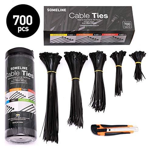 700er Kabelbinder Set mit Cuttermesser Nylon Kabelbinder 100/150/200/250/300mm SOMELINE Schwarz Kabelbinder