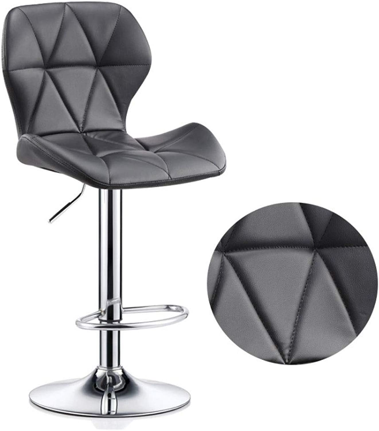 Bar stools Bar Stools Set with Backrest, Leatherette Exterior, Adjustable Swivel Gas Lift, Chrome Footrest and Base for Breakfast Bar Height Chair (color   Black, Size   40-55CM)