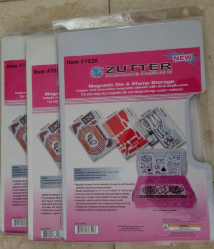 Zutter - Spellbinder Magnetic Die & Clear and Cling Stamp 3 Packs Refill Sheets - Total 3 packs @ 3 sheets each