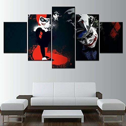 JJJKK Canvas Prints JokerBatman Harley Quinn 5 Piece Wall Art Decor Home Decoration Painting Printed on canvas Modern Large Artwork Ready to Hang