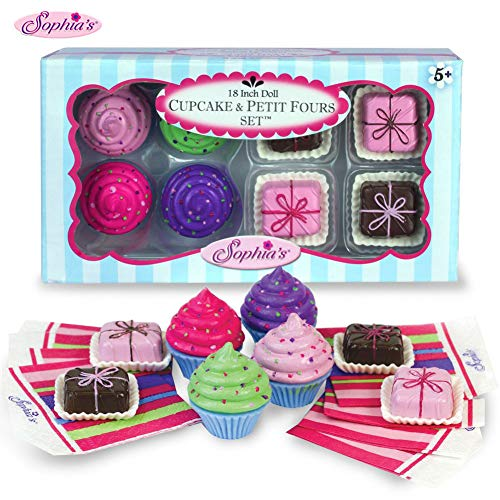 Sophia's 18' Doll Play Food Cupcakes, Petit Fours and Napkins