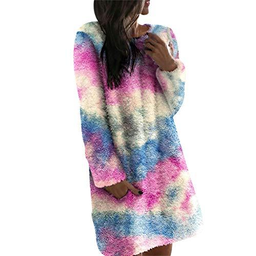 Kobay-Damen Mode Hautfreundlich Print Winterpullover Rundhalsausschnitt Baumwollmischung Lässige Plüschkleider Geschenke für Frauen