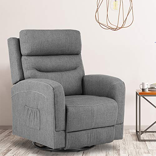 New Massage Recliner Chair Heating Fabric Ergonomic Lounge Chair for Living Room Home Theater Seating Heated Overstuffed Single Sofa with Side Pockets, 360 Degree Swivel (Fabric Grey)