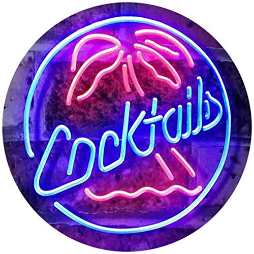 ADV PRO Cocktails Palm Tree Island Bar Pub Beer Club Dual Color LED Enseigne Lumineuse Neon Sign Rouge et Bleu 400 x 300mm st6s43-i2191-rb