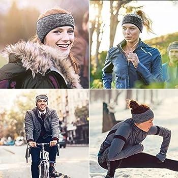 Mture Bandeau Cache-Oreilles, Hiver Sport Bandeau Tissu Chaleureux Confortable Molletonné Unisexe Idéal pour Sports, Ski, Course à Pied, Cyclisme (2 Pièces)