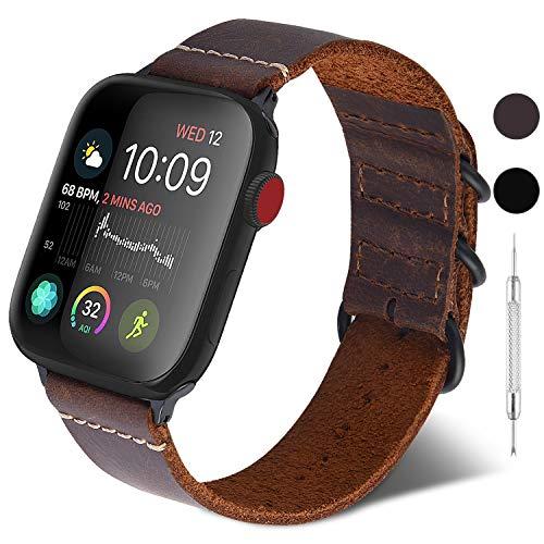 GerbGorb Cinturino per Apple Watch 42mm/44mm, NATO Cinturino in Pelle Compatibile con iWatch, Cinturini per Apple Watch Serie SE 6 5 4 3 2 1,Marrone