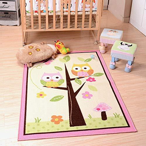Alfombra De Habitación Infantil Regalo de Niño Dibujos Animados Búho Rosa Verde Alfombra Bebé Habitación ecológica Ultra Soft–Antideslizante,tamaños: 140×200CM