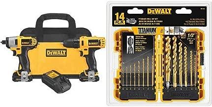 DEWALT 12V Impact Driver and Drill Combo Kit (DCK211S2) with DEWALT DW1354 14-Piece Titanium Drill Bit Set