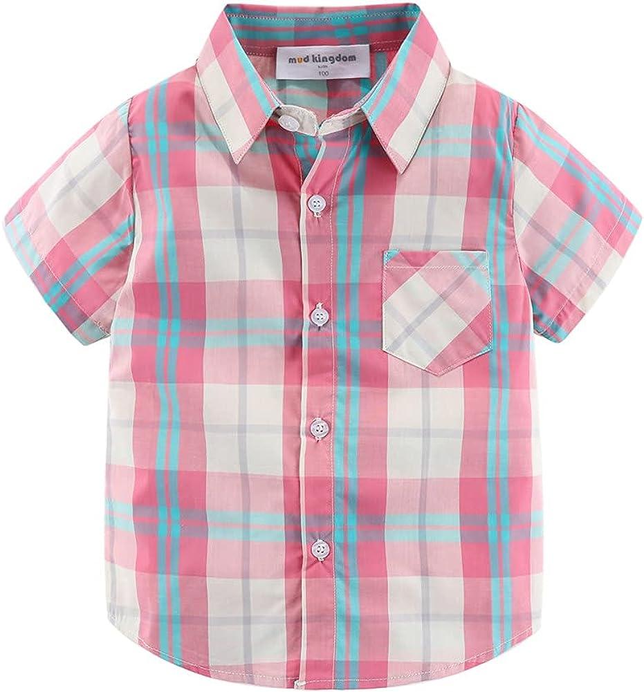 Mud Kingdom Little Boys Dress Shirts Short Sleeve Cute Summer