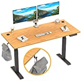 FEZIBO Height Adjustable Electric Standing Desk, 48 x 24 Inches Stand Up Desk Workstation, Full Sit Stand Home Office Table with Programmable Preset Controller, Black Frame/Bamboo Top