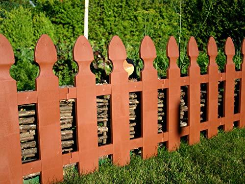 WOOLUX GARDEN Abverkauf Zaun Rasenkante Beeteinfassung Gartenzaun 1,95 m x 55 cm Dunkelbraun