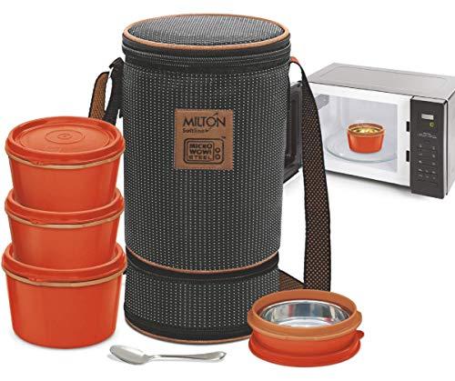 MILTON Bento Lunchbox Set 4, magnetronbare roestvrijstalen maaltijdprep containers, uitbreidbaar geïsoleerde lunchtas…