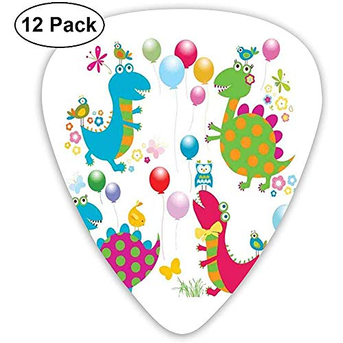 Gitaar Picks 12-Pack, Cartoon Ballonnen Vogels Vlinders Zomer Baby Dino Doddle Playroom Thema