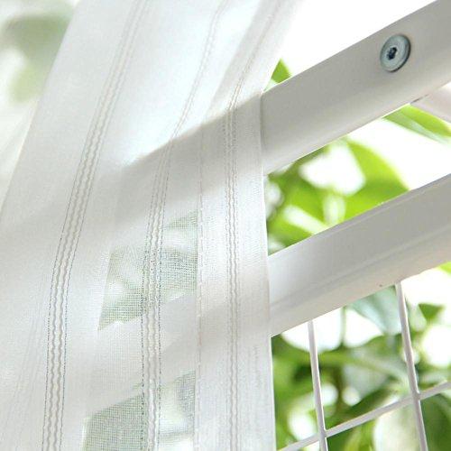 TINE HOME CURTAINS Vorhänge und Vorhänge Gardinen Luxus Weiß Streifen Tüllvorhänge Zum Fensterdekorationen Wohnzimmer Tülle oben Ein Panel, 1pc(350*270 cm