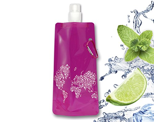 Lacui Botella plegable para exterior, senderismo, fitness y viajes, sin BPA, botella de agua para deporte, botella plegable (frambuesa)