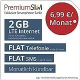 PremiumSIM LTE S Allnet Flat - monatlich kündbar (FLAT Internet 2 GB LTE mit max. 50 MBit/s mit deaktiverbarer Datenautomatik, FLAT Telefonie, FLAT SMS und EU-Ausland, 6,99 Euro/Monat)