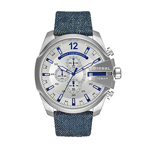 Diesel heren chronograaf kwarts horloge met stof armband DZ4511