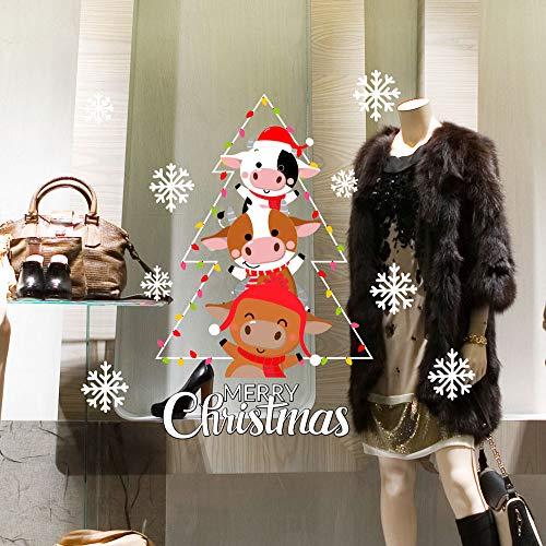 CRNT0155 - Pegatina para ventana de Navidad, 100% reutilizable, decoración para escaparates de tiendas, escaparates sin pegamento, reposicionable y reutilizable a voluntad