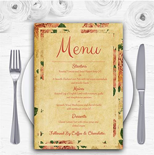 Vintage roze rozen ansichtkaart stijl gepersonaliseerde bruiloft menu kaarten 150 x A6 Menus