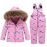 CARETOO Conjunto de ropa de plumas para bebé, niña y niño, unisex, chaqueta de invierno y pantalón de invierno con capucha de pelo sintético. Rosa-3 100 cm
