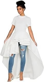 Goddessvan Women Short Sleeve High Low Peplum Dress Bodycon Party Club Asymmetrical Dress