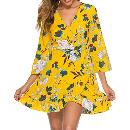 Akaide Kleid Mode Frauen Casual Print Rüschen V-Ausschnitt Schmetterling Ärmel Split Slim Mini Kleid Gr. 36, gelb