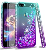 LeYi Compatible with iPhone SE 2016 Case (Not fit SE 2020!!), iPhone 5S Case, iPhone 5 Case with 2pcs Tempered Glass Screen Protector, Glitter Case for iPhone 5, Teal/Purple