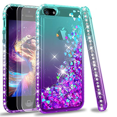 LeYi Compatible for iPhone SE Case (2016), iPhone 5S Case, iPhone 5 Case with 2pcs Tempered Glass Screen Protector for Girls Women, Cute Glitter Liquid Clear Protective Case for iPhone 5, Teal/Purple